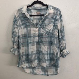 Popover flannel plaid mint white gold and blue
